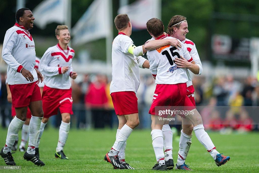 Valleivogels celebrate their goal during the pre season friendly match between on June 20, 2013 at Sportpark de Bree West in Scherpenzeel , The Netherlands.