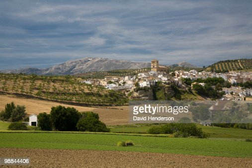Valley and town, Alhama de Granada, Andalucia, Spain : Stock Photo