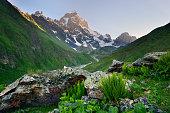 Valley and Ushba mountain peak, Svaneti, Georgia