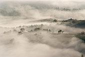 Vallee dans le brouillard du petit matin - Drome provencale