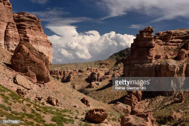 Valley of Castles with eroded red sandstone at Charyn Canyon National Park Kazakhstan