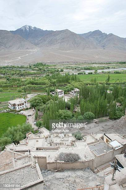 Valley of the Indus River, Tibetan Buddhism, high-angle shot of the Spituk Monastery near Leh, Spituk Gompa, Ladakh region, Jammu and Kashmir, India, South Asia, Asia