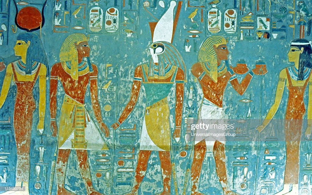 Valley of the Kings Tomb of Horemheb Pharaoh before Osiris Isis Ma'at and Horus 19th Dynasty 13331306 BC