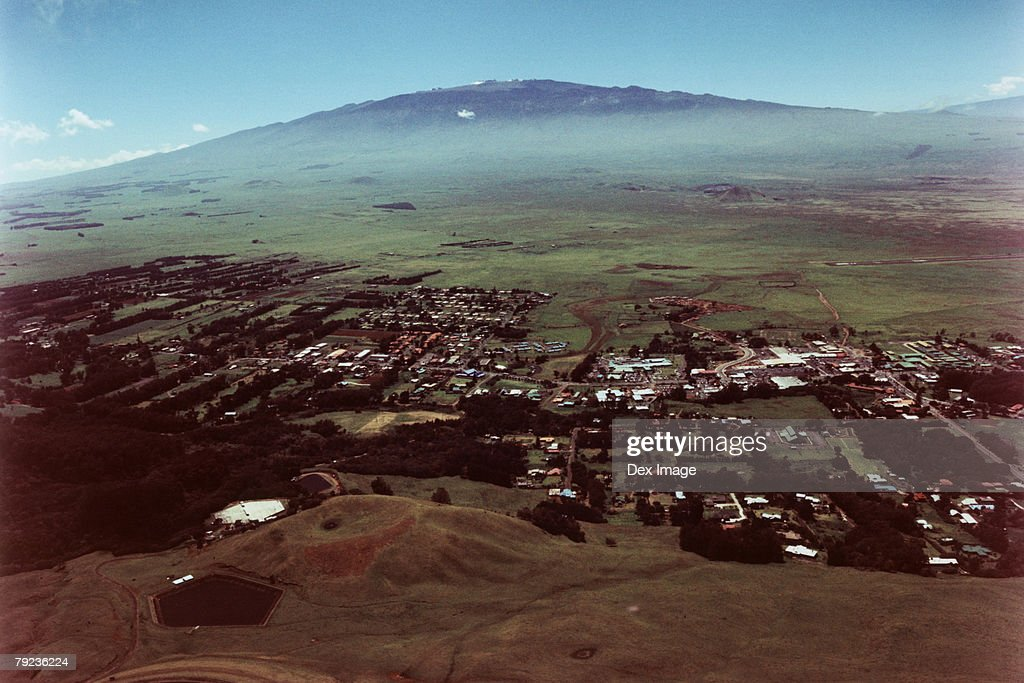 Valley Town, Big Island, Hawaii, aerial view : Stock Photo
