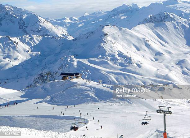 Valley with ski lifts and ski piste