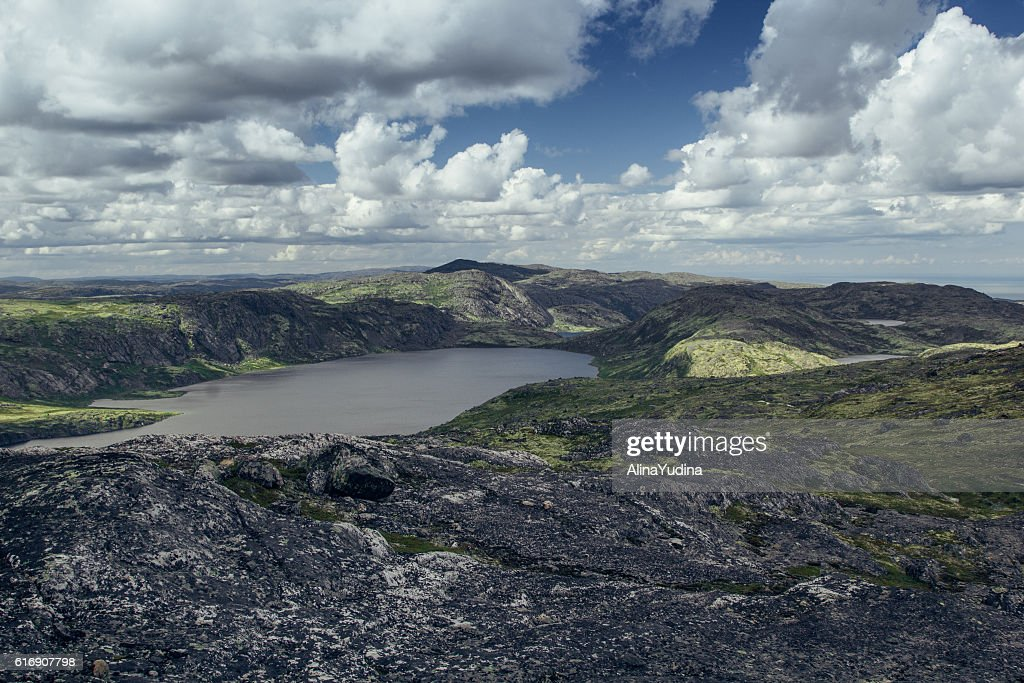 Valley with views of lake and  hills in sunny  day. : Stock Photo
