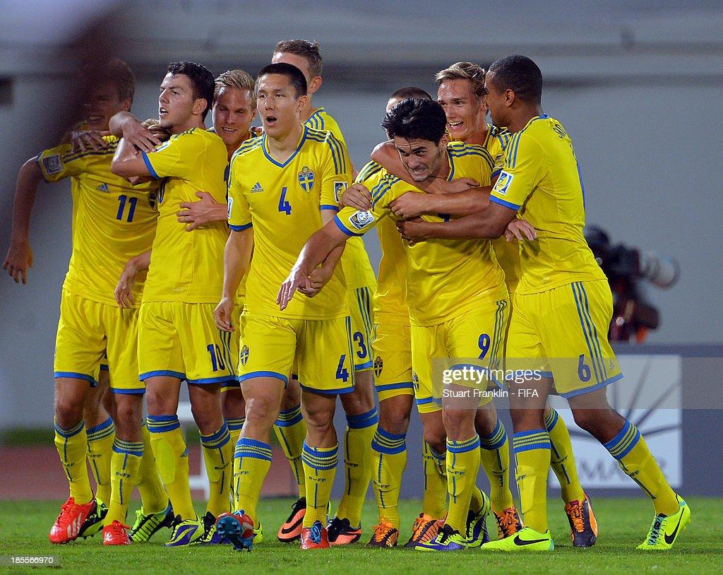 Valmir Berisha of Sweden celebrates scoring his goal during the FIFA U17 group F match between Sweden and Nigeria at Khalifa Bin Zayed Stadium on October 22, 2013 in Al Ain, United Arab Emirates.