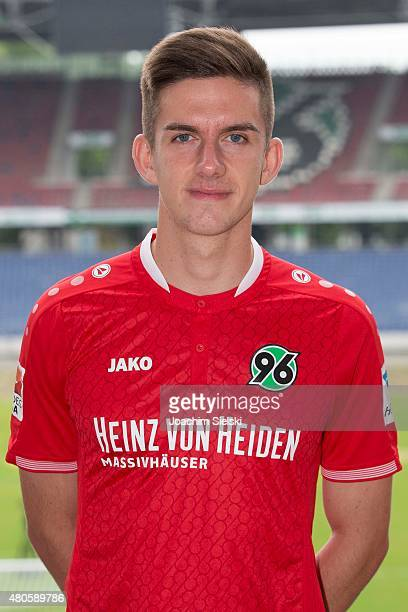 Valmir Sylejmani poses during the team presentation of Hannover 96 at HDIArena on July 13 2015 in Hanover Germany