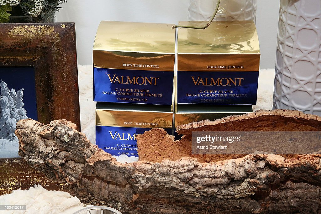 Valmont products are displayed during the V35 Valmont SPA Launch Event at Plaza Athenee on January 30, 2013 in New York City.