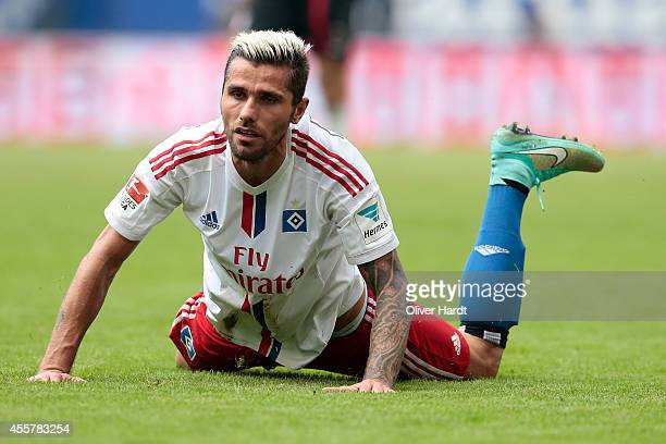 Valon Behrami of Hamburg during the Bundesliga match between Hamburger SV and FC Bayern Muenchen at Imtech Arena on September 20 2014 in Hamburg...