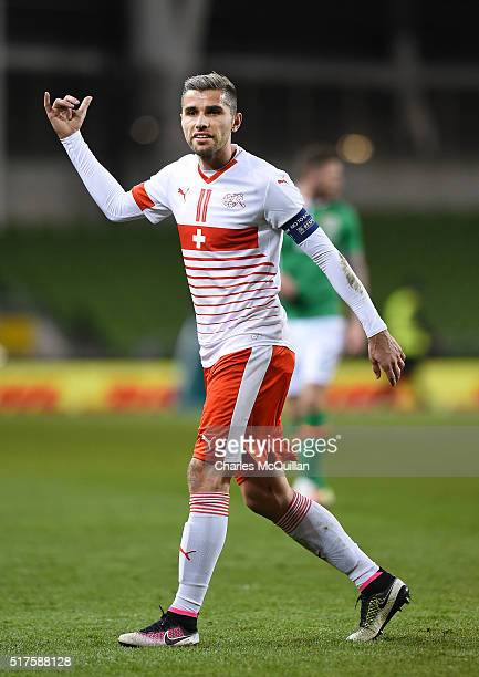 Valon Behrami of Switzerland during the international friendly match between the Republic of Ireland and Switzerland at Aviva Stadium on March 25...