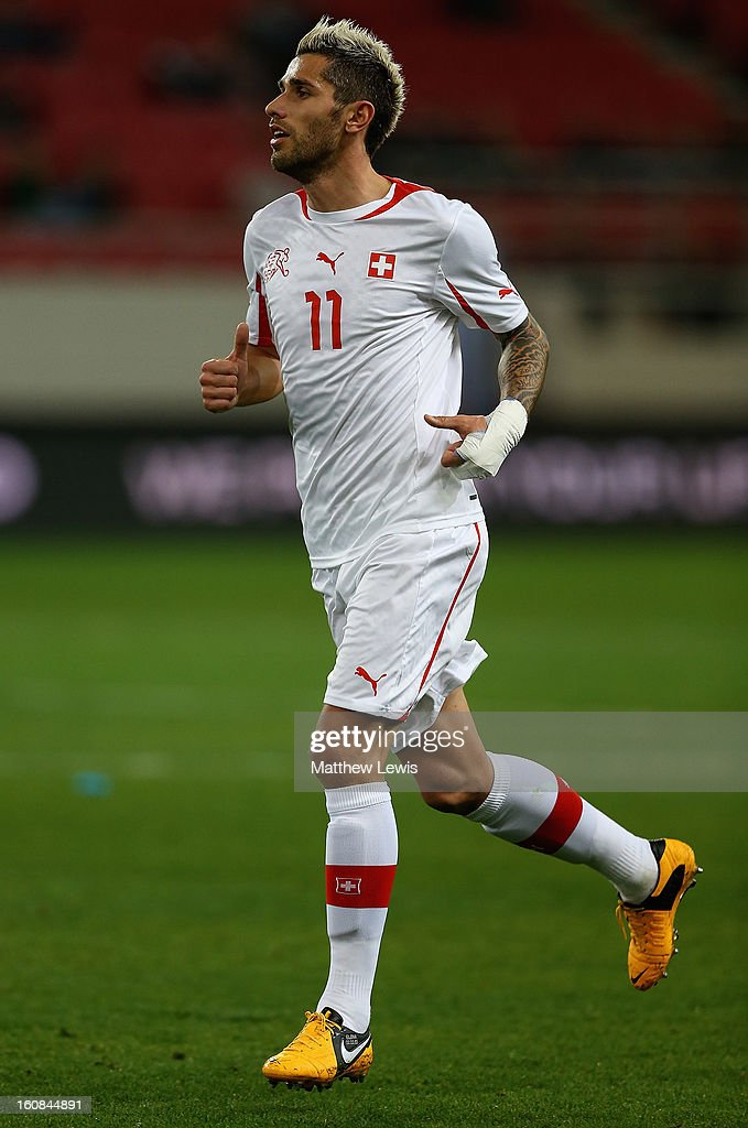 Valon Behrami of Switzerland in action during the International Friendly match between Greece and Switzerland at Karaiskakis Stadium on February 6, 2013 in Athens, Greece.