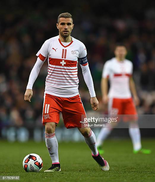 Valon Behrami of Switzerland in action during the International Friendly match between Republic of Ireland and Switzerland at Aviva Stadium on March...