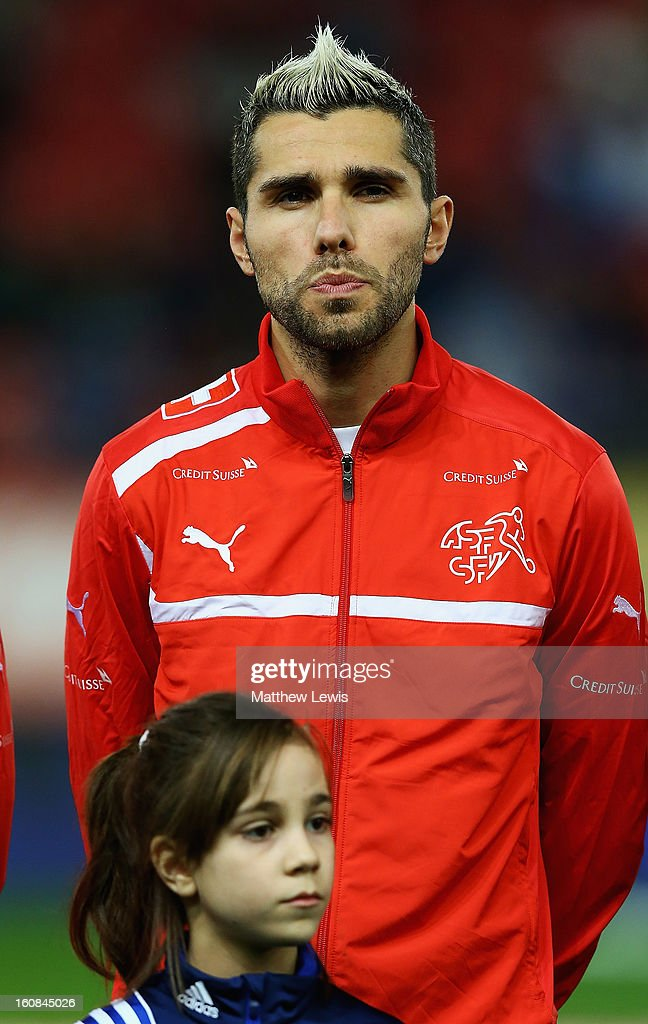 <a gi-track='captionPersonalityLinkClicked' href=/galleries/search?phrase=Valon+Behrami&family=editorial&specificpeople=453450 ng-click='$event.stopPropagation()'>Valon Behrami</a> of Switzerland lines up ahead of the International Friendly match between Greece and Switzerland at Karaiskakis Stadium on February 6, 2013 in Athens, Greece.