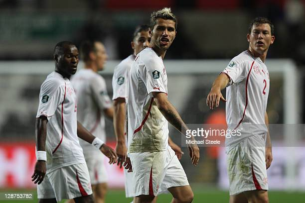 Valon Behrami of Switzerland shows his frustration after his sides 02 defeat during the EURO 2012 Qualifying Group G match between Wales and...