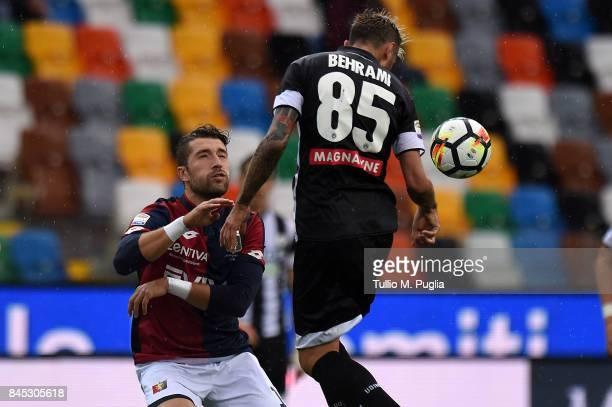 Valon Behrami of Udinese jumps for the ball during the Serie A match between Udinese Calcio and Genoa CFC at Stadio Friuli on September 10 2017 in...