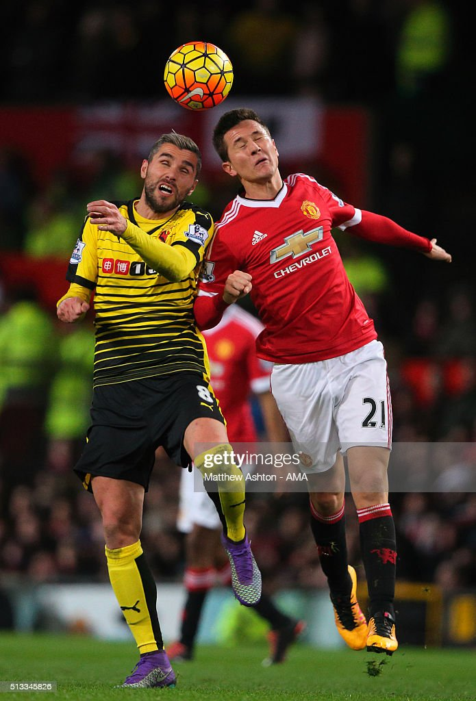 <a gi-track='captionPersonalityLinkClicked' href=/galleries/search?phrase=Valon+Behrami&family=editorial&specificpeople=453450 ng-click='$event.stopPropagation()'>Valon Behrami</a> of Watford and <a gi-track='captionPersonalityLinkClicked' href=/galleries/search?phrase=Ander+Herrera&family=editorial&specificpeople=6331880 ng-click='$event.stopPropagation()'>Ander Herrera</a> of Manchester United during the Barclays Premier League match between Manchester United and Watford at Old Trafford on March 02, 2016 in Manchester, England.