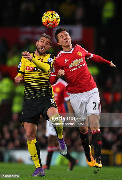 Valon Behrami of Watford and Ander Herrera of Manchester United during the Barclays Premier League match between Manchester United and Watford at Old...