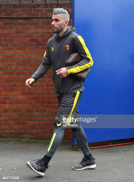 Valon Behrami of Watford arrives at the stadium prior to the Premier League match between Crystal Palace and Watford at Selhurst Park on March 18...