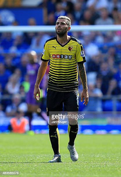 Valon Behrami of Watford during the Barclays Premier League match between Everton and Watford at Goodison Park on August 8 2015 in Liverpool England