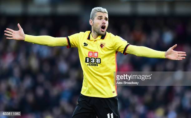 Valon Behrami of Watford gestures during the Premier League match between Watford and Burnley at Vicarage Road on February 4 2017 in Watford England