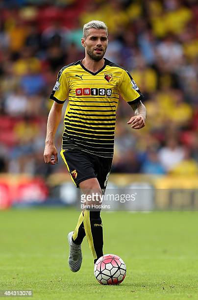 Valon Behrami of Watford in action during the Barclays Premier League match between Watford and West Bromwich Albion on August 15 2015 in Watford...