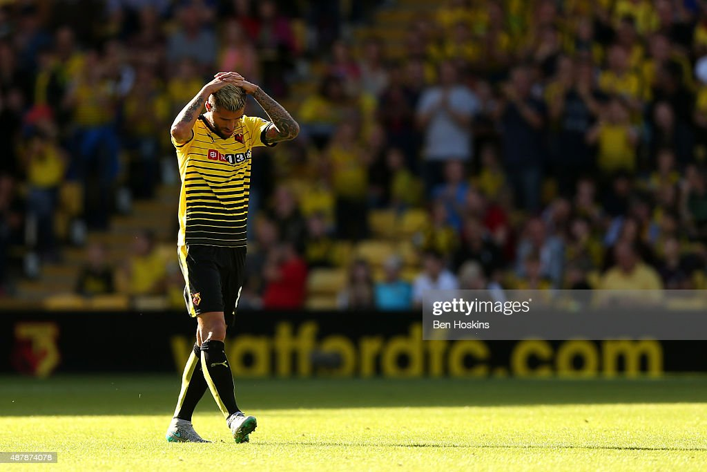 <a gi-track='captionPersonalityLinkClicked' href=/galleries/search?phrase=Valon+Behrami&family=editorial&specificpeople=453450 ng-click='$event.stopPropagation()'>Valon Behrami</a> of Watford leaves the field after being sent off during the Barclays Premier League match between Watford and Swansea City at Vicarage Road on September 12, 2015 in Watford, United Kingdom.