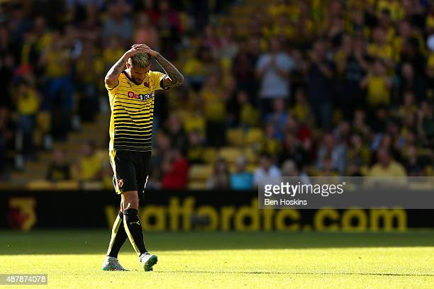 Valon Behrami of Watford leaves the field after being sent off during the Barclays Premier League match between Watford and Swansea City at Vicarage...