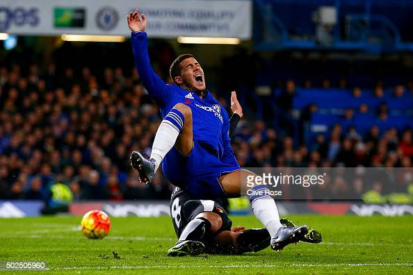 Valon Berami of Watford fouls Eden Hazard of Chelsea and concedes a penalty during the Barclays Premier League match between Chelsea and Watford at...