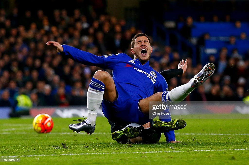 Valon Berami of Watford fouls <a gi-track='captionPersonalityLinkClicked' href=/galleries/search?phrase=Eden+Hazard&family=editorial&specificpeople=5539543 ng-click='$event.stopPropagation()'>Eden Hazard</a> of Chelsea and concedes a penalty during the Barclays Premier League match between Chelsea and Watford at Stamford Bridge on December 26, 2015 in London, England.