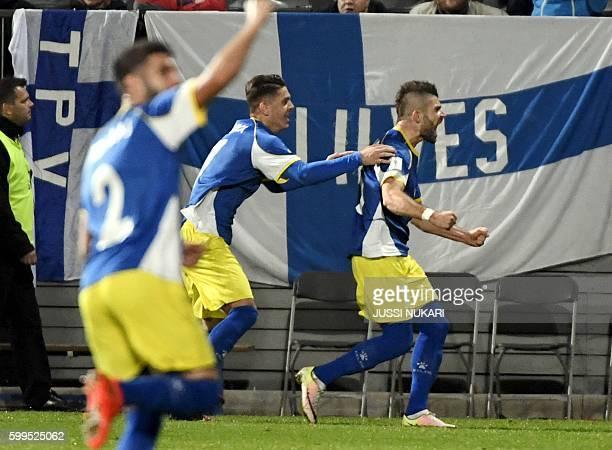 Valon Berisha of Kosovo jubitales after scoring 11 against Finland during the WC 2018 football qualification match between Finland vs Kosovo in Turku...