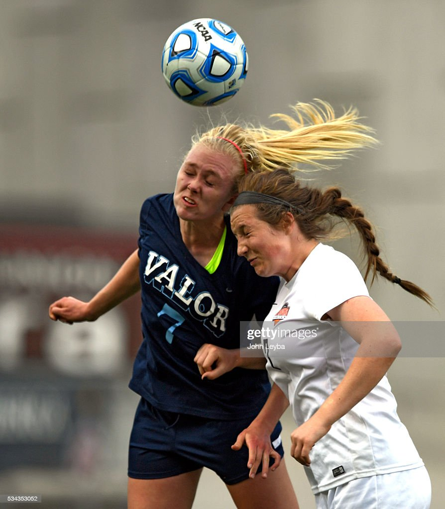 Valor Christian Eagles mf, d Caroline Noonan (7) and Lewis-Palmer Rangers mf Sarah Lyons (7) both attempt a header in the second half during the 4A state soccer championship May 25, 2016 at Dicks Sporting Goods Park. Lewis-Palmer Rangers defeated Valor Christian Eagles 1-0 for the title.
