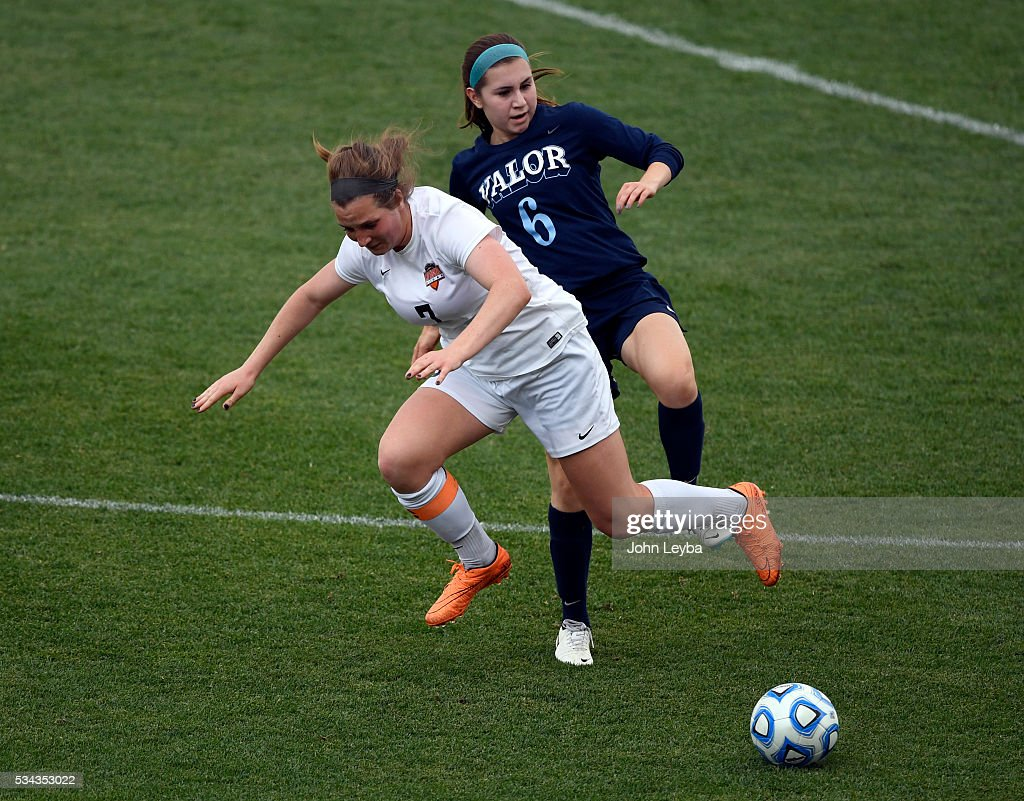 Valor Christian Eagles mf, d Natalie Quinones (6) trips up Lewis-Palmer Rangers mf Sarah Lyons (7) going after the ball in the second half during the 4A state soccer championship May 25, 2016 at Dicks Sporting Goods Park. Lewis-Palmer Rangers defeated Valor Christian Eagles 1-0 for the title.