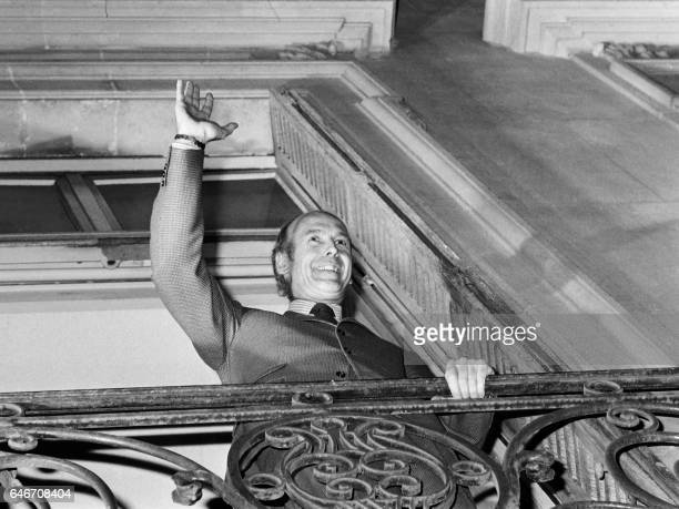 Valéry Giscard d'Estaing waves the crowd after being elected at the 1974 presidential election at his UDF campaign headquarter rue de la bienfaisance...
