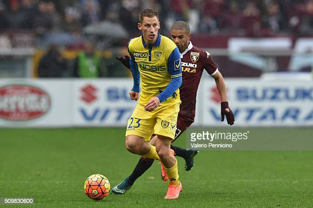 Valter Birsa of AC Chievo Verona in action during the Serie A match between Torino FC and AC Chievo Verona at Stadio Olimpico di Torino on February 7...