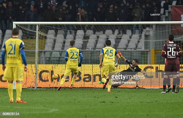 Valter Birsa of AC Chievo Verona scores his goal from the penalty spot during the Serie A match between Torino FC and AC Chievo Verona at Stadio...