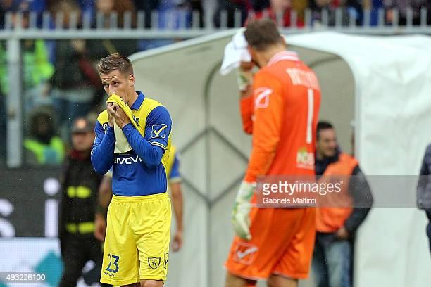 Valter Birsa of AC Chievo Verona shows his dejection during the Serie A match between Genoa CFC and AC Chievo Verona at Stadio Luigi Ferraris on...