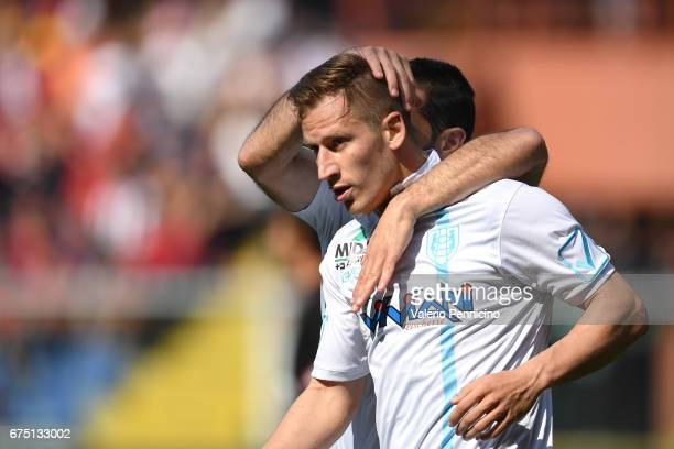 Valter Birsa of AC ChievoVerona celebrates a goal with team mate Sergio Pellissier during the Serie A match between Genoa CFC and AC ChievoVerona at...