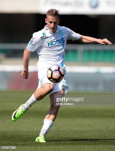 Valter Birsa of AC ChievoVerona in action during the Serie A match between AC ChievoVerona and FC Torino at Stadio Marc'Antonio Bentegodi on April 23...