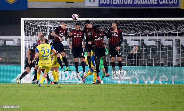 Valter Birsa of AC ChievoVerona scores his team's first goal during the Serie A match between AC ChievoVerona and AC Milan at Stadio Marc'Antonio...