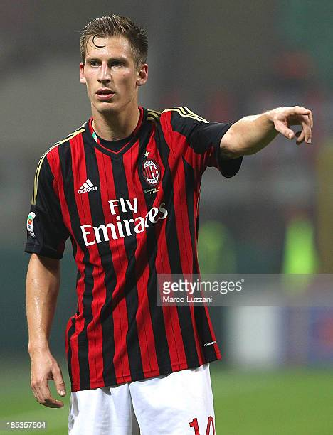 Valter Birsa of AC Milan gestures during the Serie A match between AC Milan and Udinese Calcio at Giuseppe Meazza Stadium on October 19 2013 in Milan...