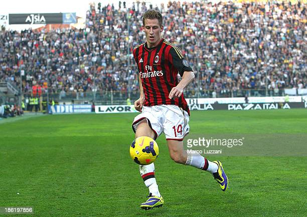 Valter Birsa of AC Milan in action during the Serie A match between Parma FC and AC Milan at Stadio Ennio Tardini on October 27 2013 in Parma Italy