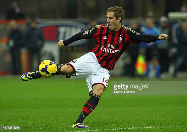 Valter Birsa of AC Milan in action during the Serie A match between AC Milan and Genoa CFC at Stadio Giuseppe Meazza on November 23 2013 in Milan...