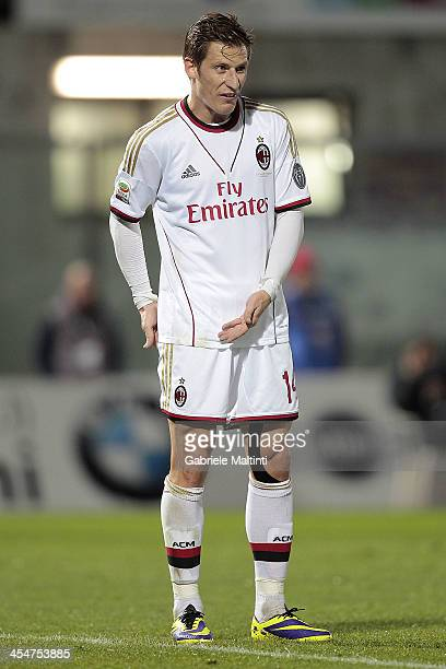 Valter Birsa of AC Milan in action during the Serie A match between AS Livorno and AC Milan at Stadio Armando Picchi on December 7 2013 in Livorno...