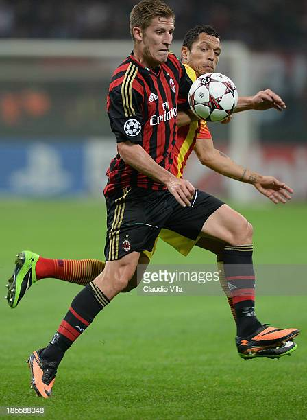 Valter Birsa of AC Milan in action during the UEFA Champions League Group H match between AC Milan and Barcelona at Stadio Giuseppe Meazza on October...