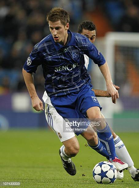 Valter Birsa of AJ Auxerre in action during the Champions League group G match between Real Madrid and AJ Auxerre at Estadio Santiago Bernabeu on...