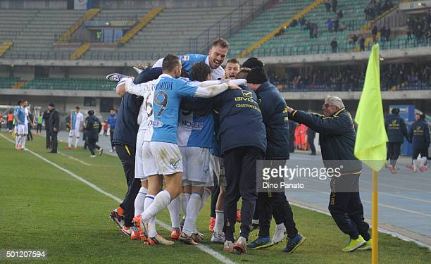 Valter Birsa of Chievo Verona is mobbed by team mates after scoring his opening goal during the Serie A match between AC Chievo Verona and Atalanta...