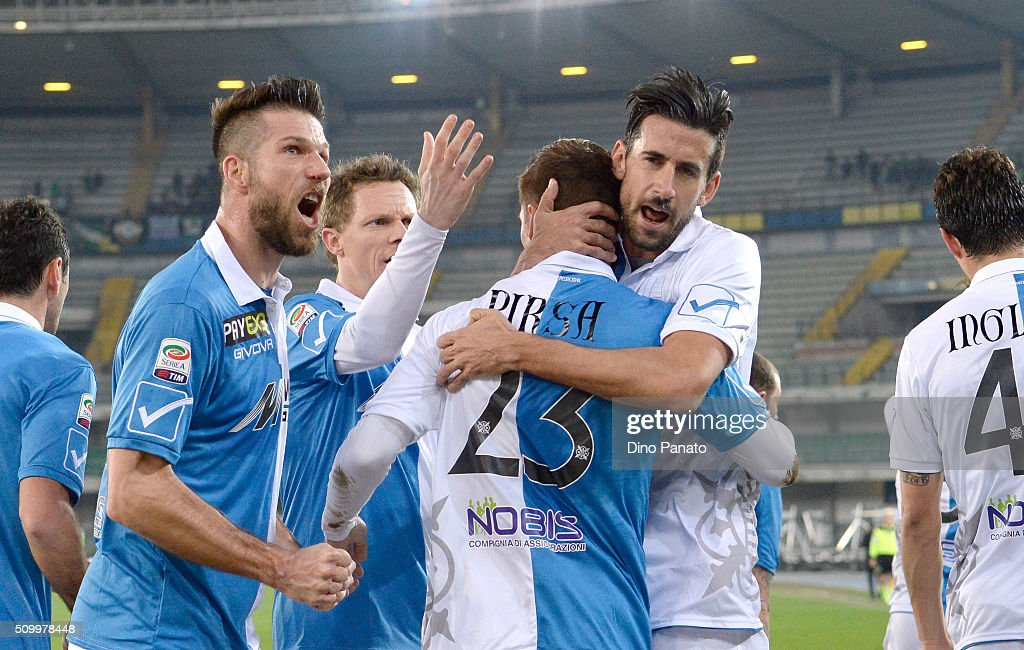 <a gi-track='captionPersonalityLinkClicked' href=/galleries/search?phrase=Valter+Birsa&family=editorial&specificpeople=1261683 ng-click='$event.stopPropagation()'>Valter Birsa</a> of Chievo Verona is mobbed by team mates after scoring his opening goal from the penalty spot during the Serie A match between AC Chievo Verona and US Sassuolo Calcio at Stadio Marc'Antonio Bentegodi on February 13, 2016 in Verona, Italy.