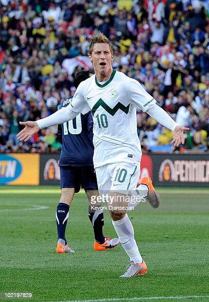 Valter Birsa of Slovenia celebrates scoring the first goal during the 2010 FIFA World Cup South Africa Group C match between Slovenia and USA at...