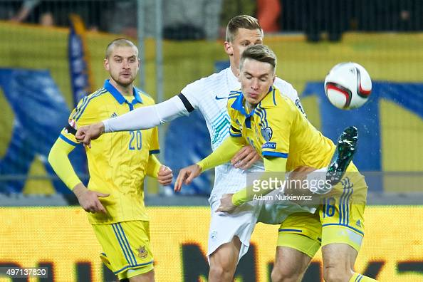 Valter Birsa of Slovenia fights for the ball with Serhiy Sydorchuk of Ukraine during the UEFA EURO 2016 Playoff for Final Tournament First leg...